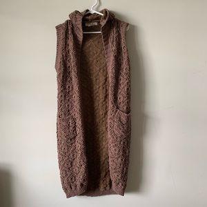 Listicle boho crochet hooded duster vest